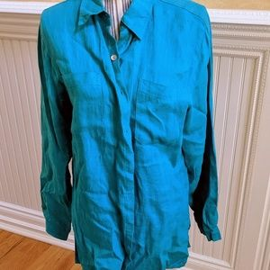 Chico's Linen Turquoise Top